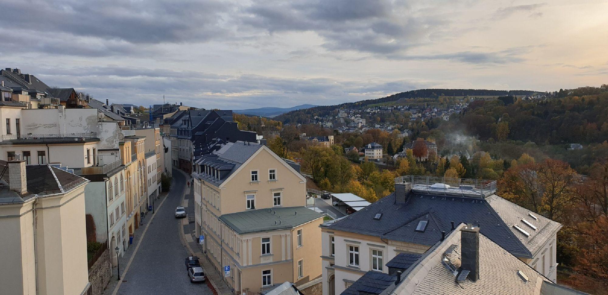 Ausblick von der Terrasse auf Annaberg