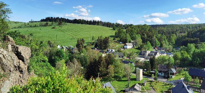 Blick vom Burgfelsen Rechenberg